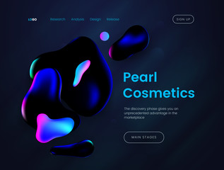 Landing page template with a dark background, can be used for luxury branded perfumes, beauty salons, advertising creams and cosmetic web sites.