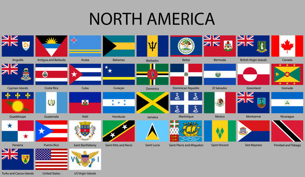 all flags of North America.