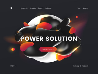 Landing page template with a dark background color, can be used for energy, technology, electrical, and innovative web sites.