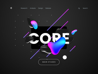 Landing page template with a dark scifi background - Core, can be used for science, technology, engineering, electronics and futuristic cyberspace theme web sites.