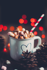 Christmas hot chocolate with marshmallow candies