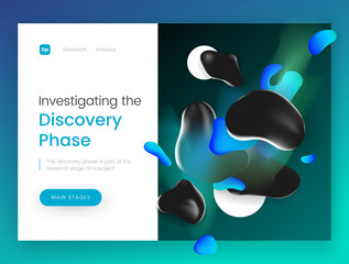 Landing page template with a 3d abstract shapes on green background, can be used for galaxy, astronomy, discovery and space theme web sites.