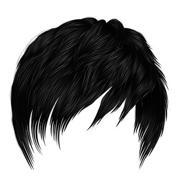 trendy  woman short  hairs  with fringe  . dark  black   color .   beauty style . realistic  3d .