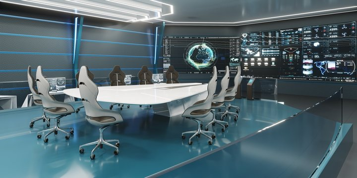 Command center interior, 3D rendering, futuristic conference room