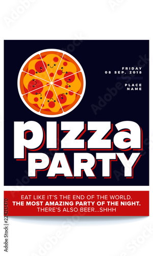 vector illustration of pizza pizza party flyer invitation template design cute pizza character