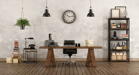 Retro office with vintage furniture