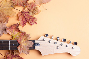 Electric guitar neck  with autumn maple leaves and copy space on yellow background.