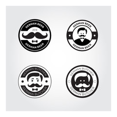 Deutcher Metzger. German Chef with mustache black and white. logo vector illustration