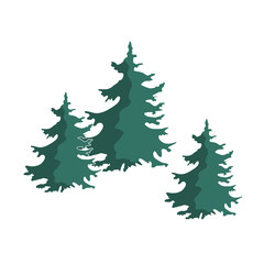 Hand drawn Christmas tree group isolated on a white background.