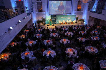 EMILY's List President, Stephanie Schriock delivers a speech during a fundraiser in Manhattan