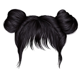 two buns  hairs with fringe brunette black  dark colors . colors . women fashion beauty style .
