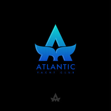 A monogram. Atlantic logo. Letter A and whale tail emblem. Sea and ocean travel. Flat emblem on a black background.