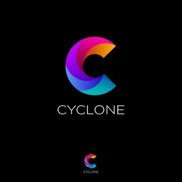 C letter monogram. C helix logo. Web, UI icon. Colorful vortex logo on a black background. Contour option.