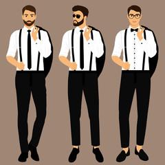 Wedding men's suit and tuxedo. Collection. The groom. Gentleman. Businessman.