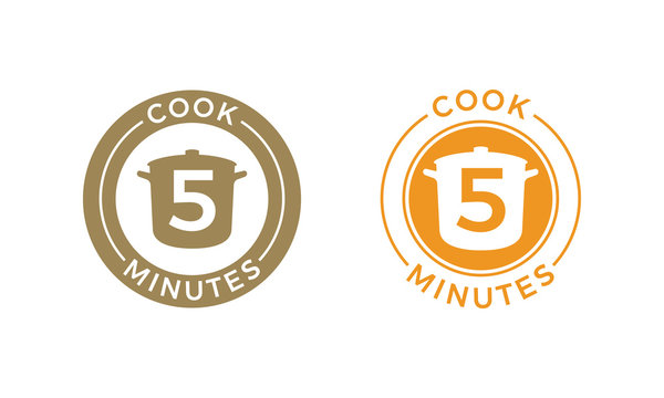 Cook 5 minutes icon cereal and pasta cooking
