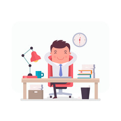 Vector Illustration on a theme of office work. Characters from a series of funny clerks. Cartoon office manager