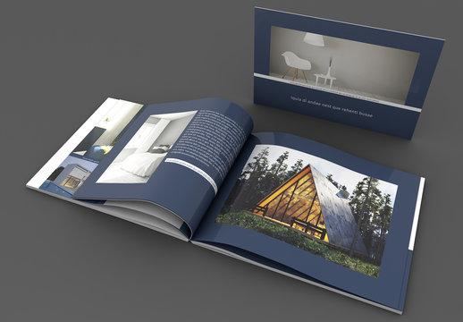 Dark Blue and White Landscape Book Layout