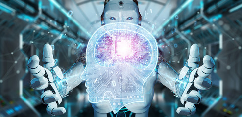 Cyborg creating artificial intelligence 3D rendering