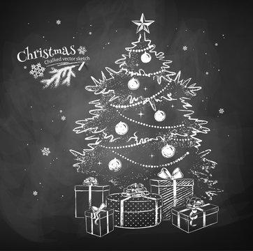 Chalk vector sketch of Christmas tree