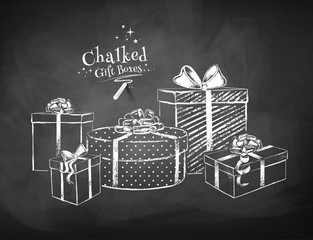 White chalk vector sketches of gift boxes