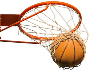 Basketball ball hitting basket on white background