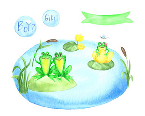 Baby shower. Watercolor set of hand painted images with cartoon elements  for greeting, children's party.