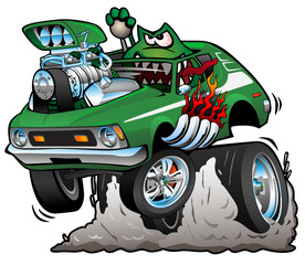 Seventies Green Hot Rod Funny Car Dragster Cartoon Vector Illustration