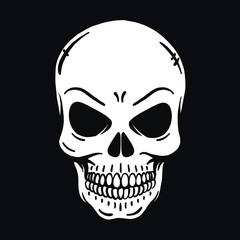 evil looking horror skull on black background. Outline, vector, tattoo, halloween, poisonous, deadly, isolated