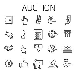Auction related vector icon set.