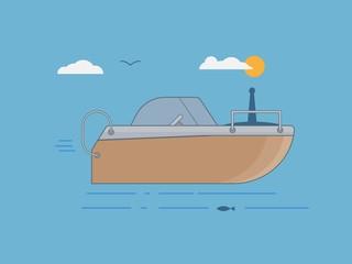 Orange boat in flat style on sea