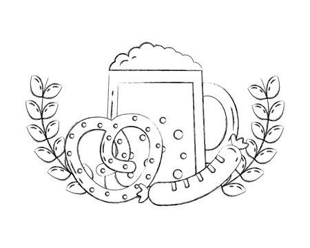 oktoberfest beer sausage and pretzel emblem