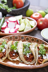 Fototapete - Tacos of meat to the shepherd or marinated