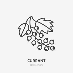 Red currant flat line icon, forest berry sign, healthy food logo. Illustration of black currants for natural food store.