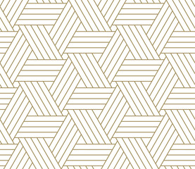 Poster Geometric Modern simple geometric vector seamless pattern with gold line texture on white background. Light abstract wallpaper, bright tile backdrop.