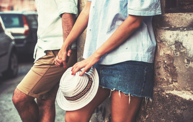 Dating. Romantic couple holding hands, close up photo. Love and romance