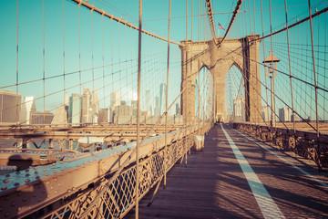 Brooklyn Bridge in New York City. Famous landmark in USA at morning light.