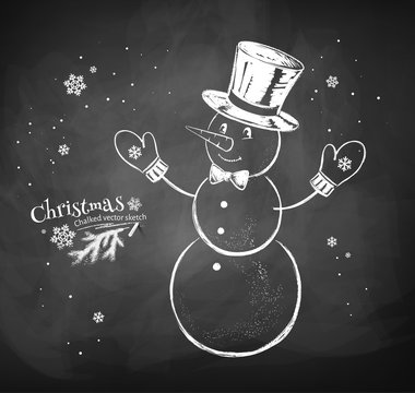 Snowman character wearing cylinder hat