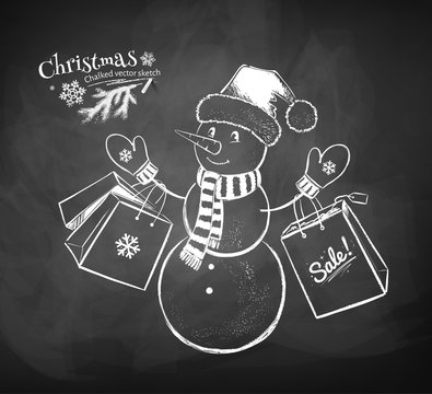 Snowman character with shopping bags