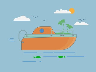 Orange boat in flat style on sea