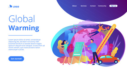 People in panic to announce global heating data. Global warming landing page. Globe with power plant and traffic fumes, environment pollution. Violet palette. Vector illustration on background