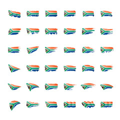 south africa flag, vector illustration on a white background.