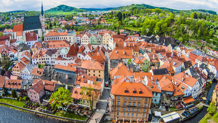 Czech Krumlov from the height of a summer day bright colors
