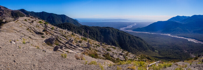 Panoramic from the top of Chaiten volcano in patagonia, Chile. Detail of the dead trees because the eruption of the volcano