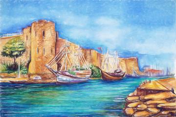 cyprus kirenia castle illustration