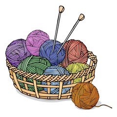 Tangles of different colors with wool for knitting in a wicker basket. Colorful vector illustration in sketch style.