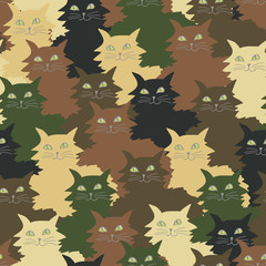 Seamless pattern with funny cats in camouflage colors