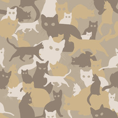 seamless camouflage with cats