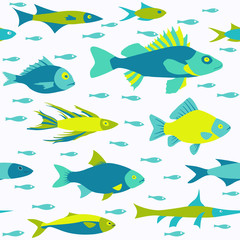 Vector seamless pattern with fish