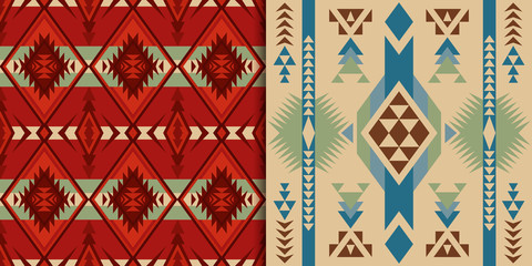 Native Southwest American, Indian, Aztec, Geometric, Navajo and Pueblo seamless patterns.