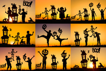 Wall Mural - Collage of happy family playing outdoors